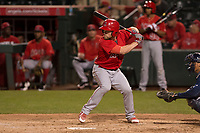 Los Angeles Angels designated hitter Nolan Fontana (56) during a Minor League Spring Training game against the Milwaukee Brewers at Tempe Diablo Stadium on March 29, 2018 in Tempe, Arizona. (Zachary Lucy/Four Seam Images)