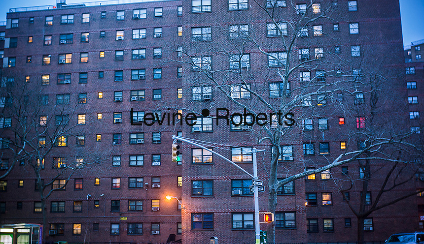 The massive NYCHA Elliot Houses complex of apartments in Chelsea in New York is seen on Saturday, February 16, 2013. The city has announced that it will be building affordable housing on underused land controlled by the housing authority.  (© Richard B. Levine)