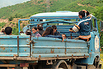 BAJRAM CURRI - ALBANIA - 20 JUNE 1998 -- Kosovo -Albanian refugees from Decani, after 4 days by foot through the mountains getting a ride with a UNHCR truck from the border to the center of Bajram Curri. -- PHOTO: JUHA ROININEN / EUP-IMAGES