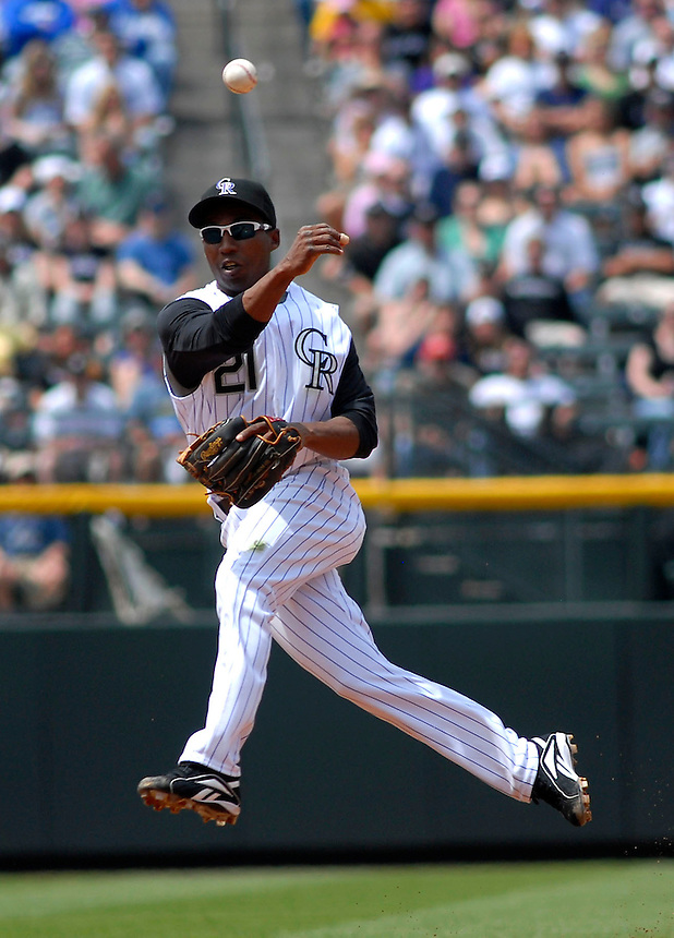 04 May 2008: Colorado Rockies 2nd baseman Jonathan Herrera makes a play against the Los Angeles Dodgers on May 4, 2008 at Coors Field in Denver, Colorado. The Rockies defeated the Dodgers 7-2.