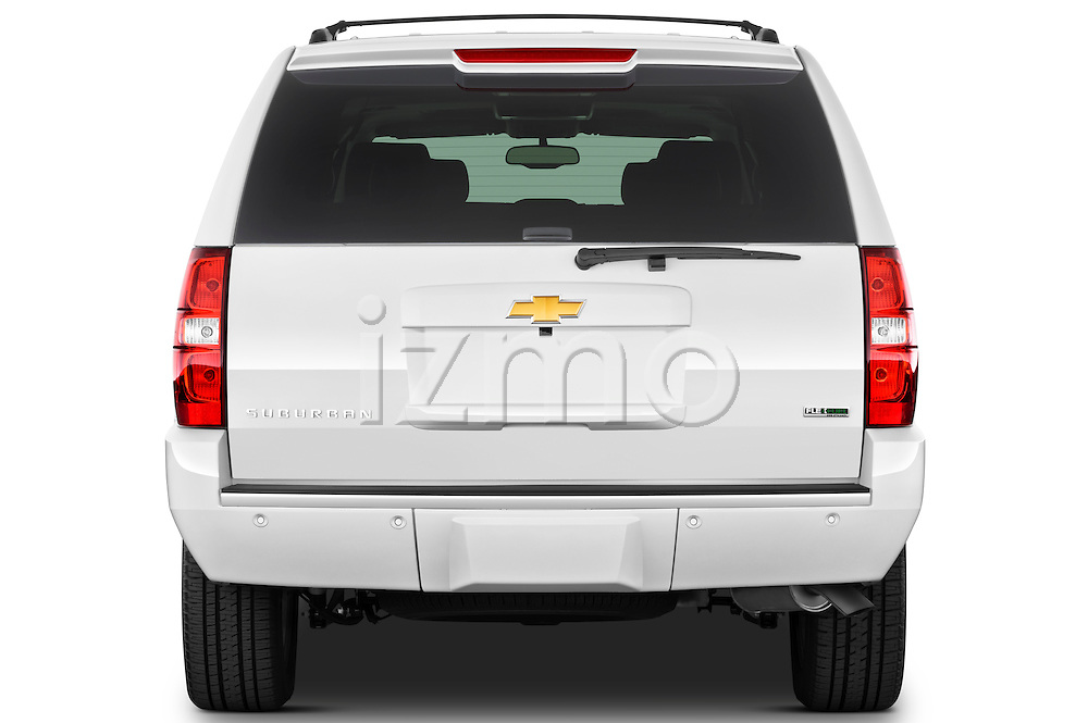 Straight rear view of a 2012 Chevrolet Suburban LTZ