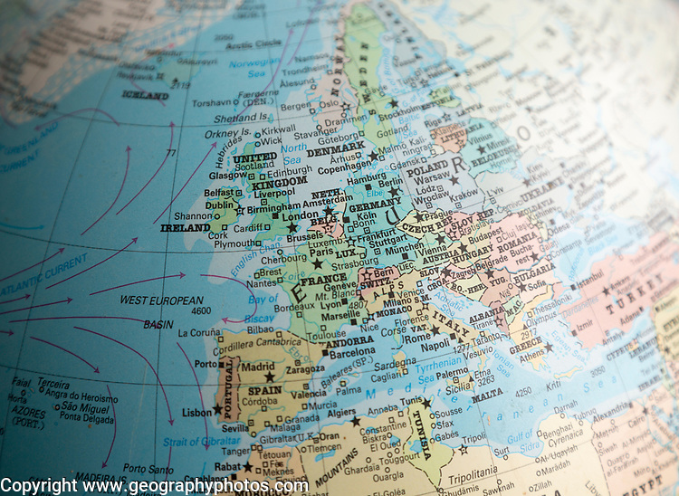 Western Europe map on a globe focused on France