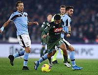 11th January 2020; Stadio Olympico, Rome, Italy; Serie A Football, Lazio versus Napoli; Lorenzo Insigne of Napoli breaks pas Lucas Leiva of Lazio - Editorial Use
