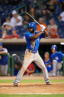 Dunedin Blue Jays right fielder D.J. Davis (6) at bat during a game against the Clearwater Threshers on April 6, 2018 at Spectrum Field in Clearwater, Florida.  Clearwater defeated Dunedin 8-0.  (Mike Janes/Four Seam Images)