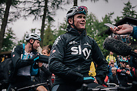 Chris Froome (GBR/SKY) interviewed post-race<br /> <br /> Stage 6: Barrow-in-Furness to Whinlatter Pass   (168km)<br /> 15th Ovo Energy Tour of Britain 2018