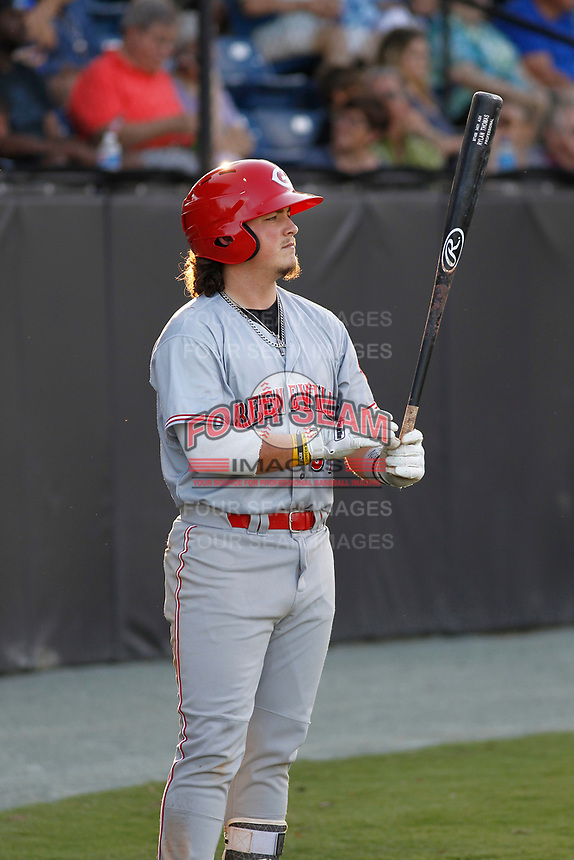 Greeneville Reds first baseman Rylan Thomas (37) on deck during a game against the Burlington Royals at the Burlington Athletic Complex on July 7, 2018 in Burlington, North Carolina.  Burlington defeated Greeneville 2-1. (Robert Gurganus/Four Seam Images)