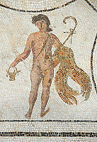 Picture of a Roman mosaics design depicting a figure, from the ancient Roman city of Thysdrus. 3rd century AD. El Djem Archaeological Museum, El Djem, Tunisia.