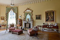 The cream drawing room exhibits a more subtle influence of the Gothic Revival fashion that swept through the house in the early 19th century