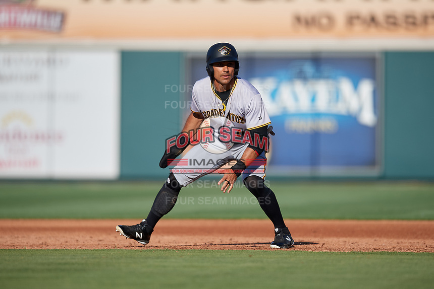 Bradenton Marauders right fielder Tyler Gaffney (6) leads off during the first game of a doubleheader against the Lakeland Flying Tigers on April 11, 2018 at Publix Field at Joker Marchant Stadium in Lakeland, Florida.  Lakeland defeated Bradenton 5-4.  (Mike Janes/Four Seam Images)