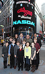 Dan lauria, John Bolton, Johnny Rabe  and the cast of 'A Christmas Story, The Musical'  ringing  the NASDAQ Stock Market Opening Bell at NASDAQ, Times Square in New York City on December 20, 2012