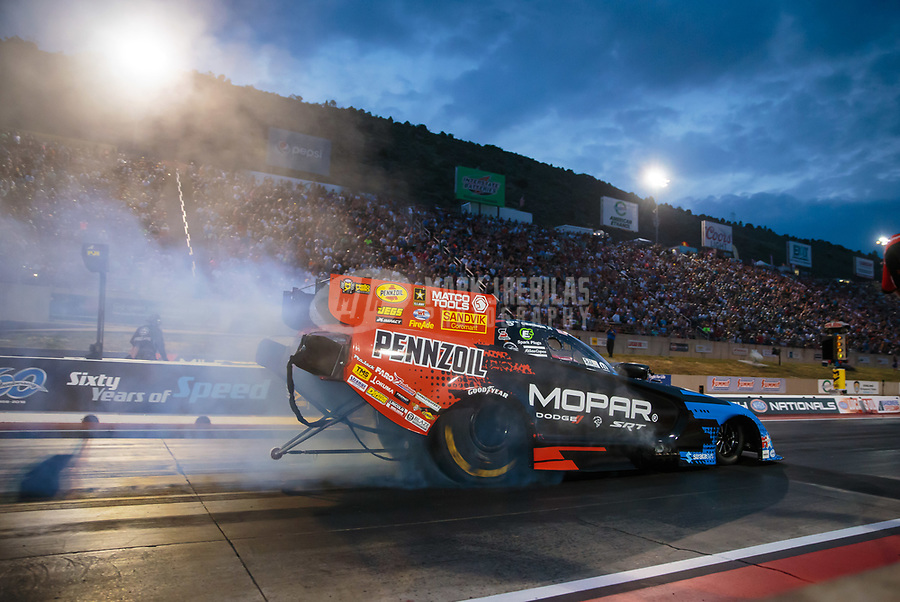 Jul 20, 2018; Morrison, CO, USA; NHRA funny car driver Matt Hagan during qualifying for the Mile High Nationals at Bandimere Speedway. Mandatory Credit: Mark J. Rebilas-USA TODAY Sports