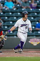 Aaron Schnurbusch (20) of the Winston-Salem Dash follows through on his swing against the Buies Creek Astros at BB&T Ballpark on April 13, 2017 in Winston-Salem, North Carolina.  The Dash defeated the Astros 7-1.  (Brian Westerholt/Four Seam Images)