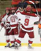 Conor Morrison (Harvard - 38), Colin Blackwell (Harvard - 63) and Danny Biega (Harvard - 9) celebrate Blackwell's shorthanded goal which tied the game at 1. - The Harvard University Crimson defeated the visiting Brown University Bears 3-2 on Friday, November 2, 2012, at the Bright Hockey Center in Boston, Massachusetts.
