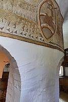 Fresken aus dem 13.Jh.. in der romanischen Rundkirche  &Oslash;sterlars Kirke auf der Insel Bornholm, D&auml;nemark, Europa<br /> Frescoes 13c. in Romanesque round church &Oslash;sterlars Kirke, Isle of Bornholm Denmark