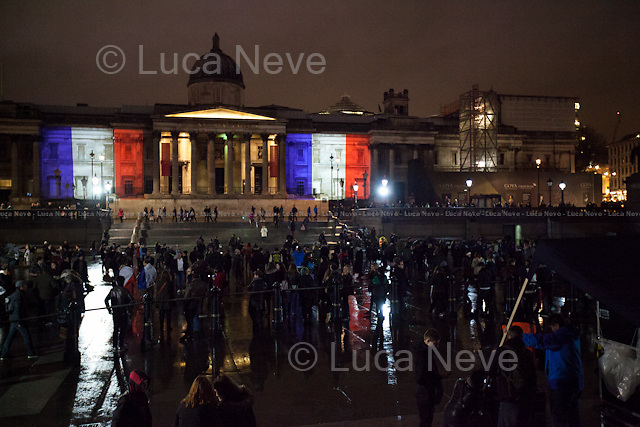 Trafalgar Square.<br /> <br /> London, 14/11/2015. Today, thousands of people gathered in Leicester Square and Trafalgar Square to hold vigils to pay tribute to the 129 victims and more than 200 injured of the 13th of November terrorist attacks in Paris.
