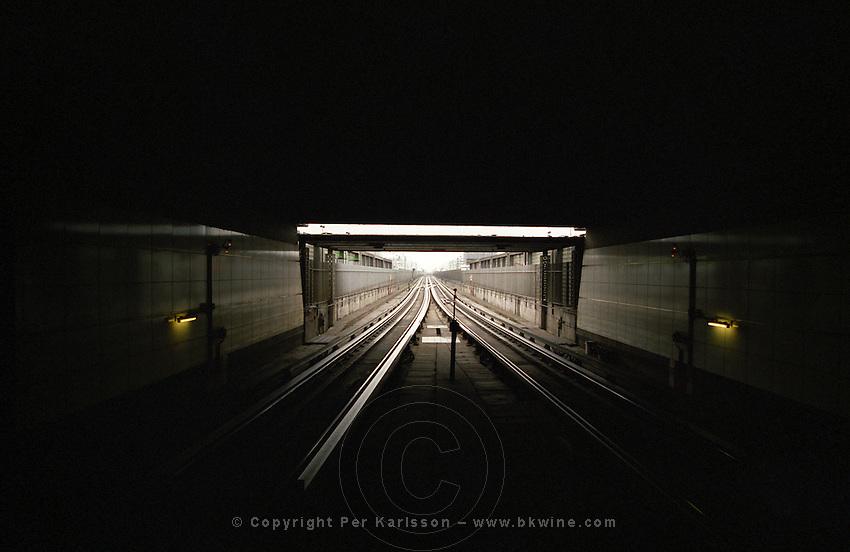 The underground metro at the Parvis de la Defense station. Paris, France.