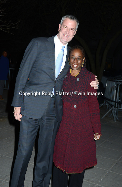 Mayor Bill de Blasio and wife Chirlane McCray arrive at the Vanity Fair Party for the 2014 Tribeca Film Festival on April 23, 2014 at the State Supreme Courthouse in New York, NY, USA
