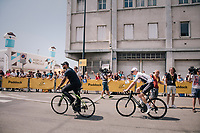 Chris Froome (GBR/SKY) & bodyguard (which he needs now more then ever before...) rolling back to the teambus after sign-on<br /> <br /> Stage 6: Brest > Mûr de Bretagne / Guerlédan (181km)<br /> <br /> 105th Tour de France 2018<br /> ©kramon