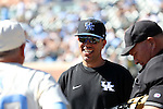 19 February 2017: Kentucky head coach Nick Mingione. The University of North Carolina Tar Heels hosted the University of Kentucky Wildcats in a College baseball game at Boshamer Stadium in Chapel Hill, North Carolina. UNC won the game 5-4.