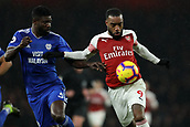 29th January 2019, Emirates Stadium, London, England; EPL Premier League Football, Arsenal versus Cardiff City; Alexandre Lacazette of Arsenal competes for the ball with Bruno Ecuele Manga of Cardiff City