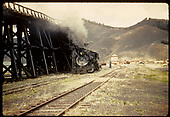 D&amp;RGW #489 K-36 at coal trestle in Sargent with tank in background.<br /> D&amp;RGW  Sargent, CO