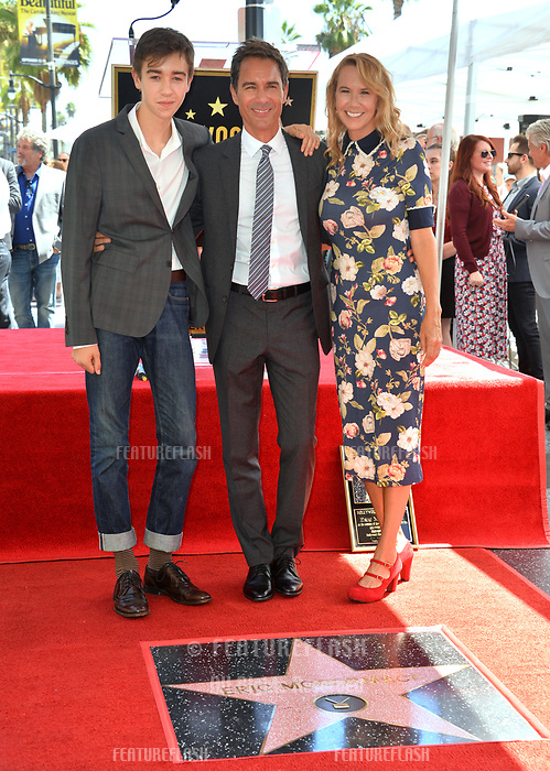 "LOS ANGELES, CA. September 13, 2018: Eric McCormack, Finnigan McCormack & Janet Holden at the Hollywood Walk of Fame Star Ceremony honoring ""Will & Grace"" star Eric McCormack."