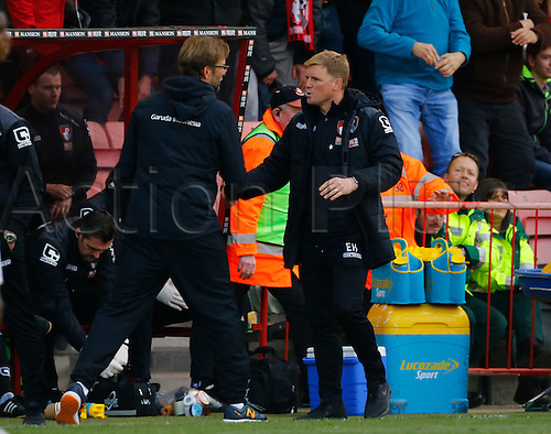 17.04.2016. Vitality Stadium, Bournemouth, England. Barclays Premier League. Bournemouth versus Liverpool. Bournemouth boss Eddie Howe congratulates visiting Liverpool manager Jurgen Klopp after today's game as Liverpool ran out 2-1 winners.