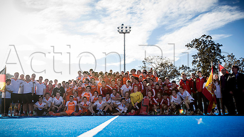 01.04.2013 Valencia, Spain. Participants on the Tournament pose during the awards ceremony of the Hockey 4 Nations U18 and U16 Men Easter Tournament Valencia 2013 from the Campo de Hockey Valencia