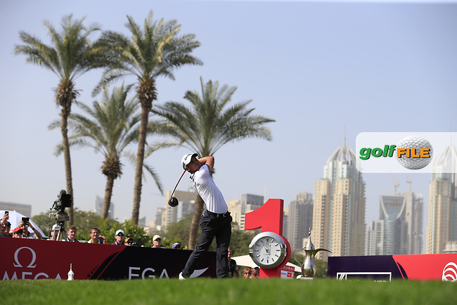 Kim Koivu (FIN) on the 1st tee during Round 4 of the Omega Dubai Desert Classic, Emirates Golf Club, Dubai,  United Arab Emirates. 27/01/2019<br /> Picture: Golffile | Thos Caffrey<br /> <br /> <br /> All photo usage must carry mandatory copyright credit (&copy; Golffile | Thos Caffrey)
