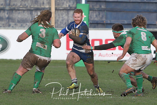 1.2.2014, Coventry, England.  Will Hurrell (Coventry) in action during the Division One fixture between Coventry and Wharfedale RFC from the Butts Park Arena.