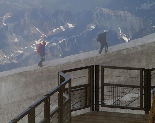 Photoshop. Mountaineers ascend Mount Blanc, Chamonix, France.