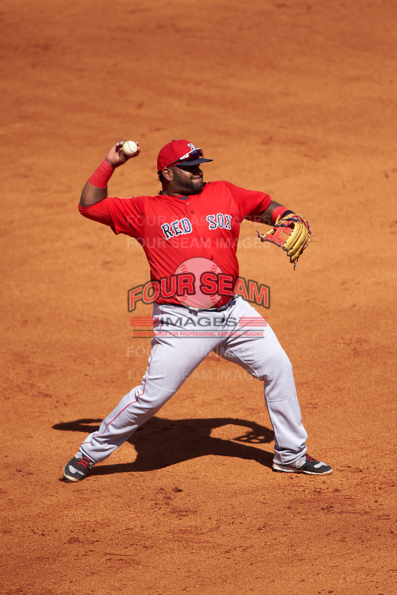 Boston Red Sox third baseman Pablo Sandoval (48) warmup throw to first base during a Spring Training game against the Pittsburgh Pirates on March 9, 2016 at McKechnie Field in Bradenton, Florida.  Boston defeated Pittsburgh 6-2.  (Mike Janes/Four Seam Images)