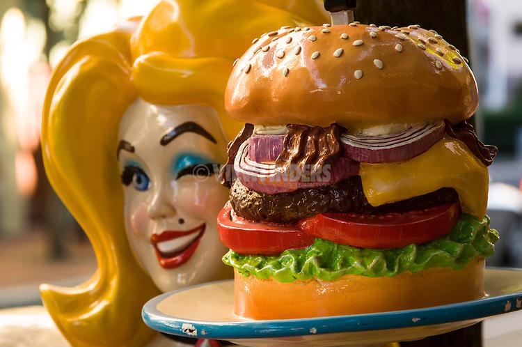 Close-up of Hamburger Mary's statue.