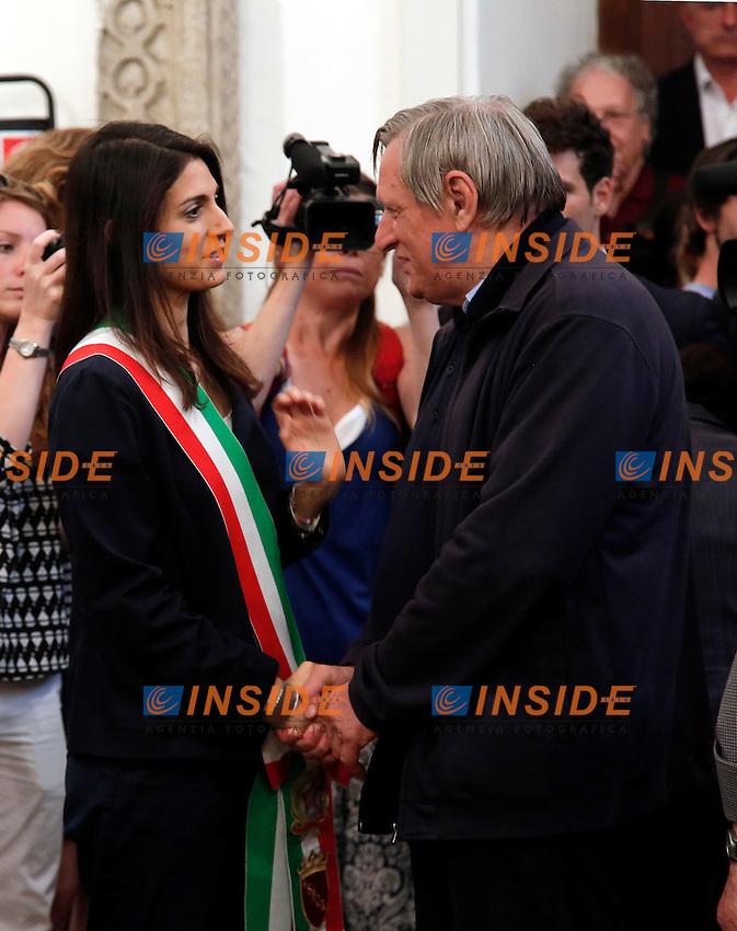 Virginia Raggi e Don Luigi Ciotti<br /> Roma 28-06-2016 Campidoglio, camera ardente del regista Giuseppe Ferrara.<br /> Photo Samantha Zucchi Insidefoto