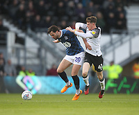 Blackburn Rovers Ben Brereton  in action with Derby County's Max Bird<br /> <br /> Photographer Mick Walker/CameraSport<br /> <br /> The EFL Sky Bet Championship - Derby County v Blackburn Rovers - Sunday 8th March 2020  - Pride Park - Derby<br /> <br /> World Copyright © 2020 CameraSport. All rights reserved. 43 Linden Ave. Countesthorpe. Leicester. England. LE8 5PG - Tel: +44 (0) 116 277 4147 - admin@camerasport.com - www.camerasport.com