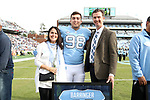 CHAPEL HILL, NC - NOVEMBER 18: UNC's Connor Barringer was honored as part of Senior Day pregame activities. The University of North Carolina Tar Heels hosted the Western Carolina University Catamounts on November 18, 2017 at Kenan Memorial Stadium in Chapel Hill, NC in a Division I College Football game. UNC won the game 65-10.