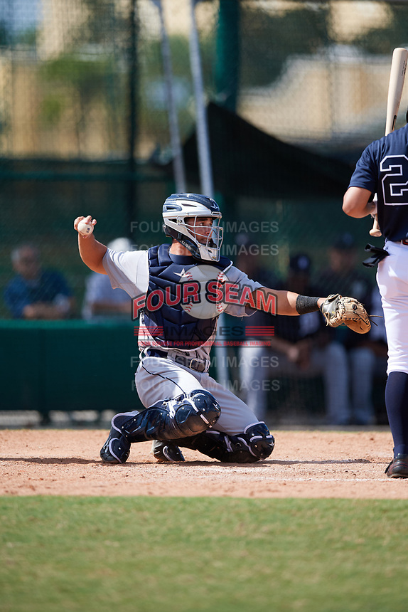 Detroit Tigers catcher Brady Policelli (71) throws the ball back to the pitcher during an Instructional League game against the Atlanta Braves on October 10, 2017 at the ESPN Wide World of Sports Complex in Orlando, Florida.  (Mike Janes/Four Seam Images)