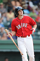 Designated hitter Danny Bethea (26) of the Greenville Drive bats in a game against the Savannah Sand Gnats on Friday, August 22, 2014, at Fluor Field at the West End in Greenville, South Carolina. Greenville won, 6-5. (Tom Priddy/Four Seam Images)