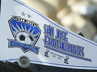 24 October 2004: San Jose Earthquakes' banner displays in the game at Spartan Stadium in San Jose, California.   Earthquakes defeated Wizards, 2-0.  Credit: Michael Pimentel / ISI