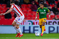 12th February 2020; Bet365 Stadium, Stoke, Staffordshire, England; English Championship Football, Stoke City versus Preston North End; Scott Sinclair of Preston North End looks to get past Danny Batth of Stoke City - Strictly Editorial Use Only. No use with unauthorized audio, video, data, fixture lists, club/league logos or 'live' services. Online in-match use limited to 120 images, no video emulation. No use in betting, games or single club/league/player publications
