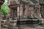 Angkorian temple Banteay Srei (late 10th century) 967.<br /> Doorway into Mandapa and central tower sanctuary.<br /> The central sanctuary and the southern sanctuary were dedicated to Shiva and the northern sanctuary was dedicated to Vishnu.<br /> Banteay Srei temple is situated 20km north of Angkor, built during the reign of Rajendravarman by Yajnavaraha, one of his counsellors. In antiquity Isvarapura was a small city that grew up around the temple. Banteay Srei was dedicated to the worship of Shiva, the foundation stele describes the consecration of the linga Tribhuvanamahesvara (Lord of the three worlds) in 967.