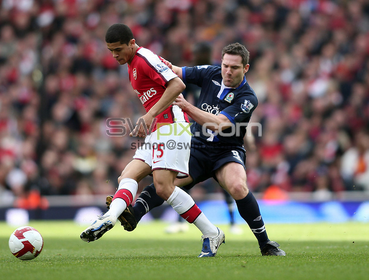 PICTURE BY JEREMY RATA/SWPIX.COM. Barclays Premier League 2008/9 - Arsenal v Blackburn Rovers, Emirates Stadium, London, England. 14th March 2009. Arsenal's Denilson is tackled by Blackburn's David Dunn..Copyright - Simon Wilkinson - 07811267706
