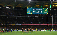 The official attendance of 61,241 is shown on the big screen during the Rugby Championship match between Australia and New Zealand at Optus Stadium in Perth, Australia on August 10, 2019 . Photo: Gary Day / Frozen In Motion