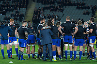 France's Mathieu Bastareaud hugs France head coach Jacques Brunel before the Steinlager Series international rugby match between the New Zealand All Blacks and France at Eden Park in Auckland, New Zealand on Saturday, 9 June 2018. Photo: Dave Lintott / lintottphoto.co.nz