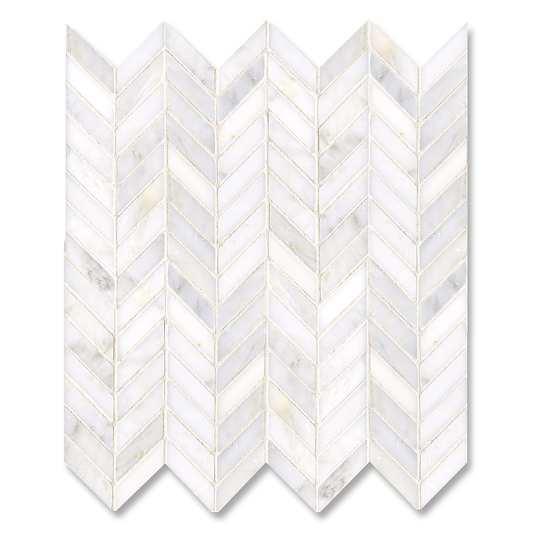 Chevron shown in polished Calacatta Radiance is part of New Ravenna's Studio Line of ready to ship mosaics.