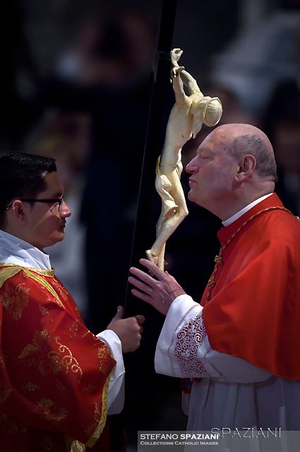 cardinal Gianfranco Ravasi.Pope Francis the ceremony of the Good Friday Passion of the Lord Mass in Saint Peter's Basilica at the Vatican.15 April 2017