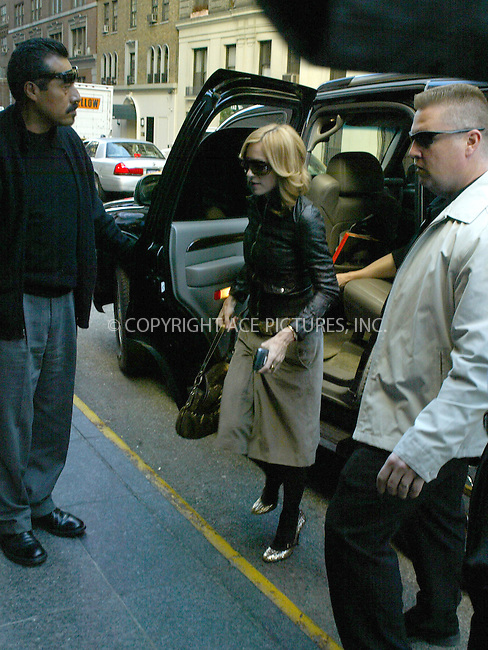 WWW.ACEPIXS.COM . . . . .  ....NEW YORK, OCTOBER 19, 2005....Madonna arrives at a press junket for her new documentary 'I'm Gonna Tell You a Secret' held at Essex House. ....Please byline: PAUL CUNNINGHAM - ACE PICTURES..... *** ***..Ace Pictures, Inc:  ..Craig Ashby (212) 243-8787..e-mail: picturedesk@acepixs.com..web: http://www.acepixs.com