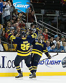 Adam Ross (Merrimack - 26), Ryan Flanigan (Merrimack - 20) - The Merrimack College Warriors defeated the University of New Hampshire Wildcats 4-1 in their Hockey East Semi-Final on Friday, March 18, 2011, at TD Garden in Boston, Massachusetts.