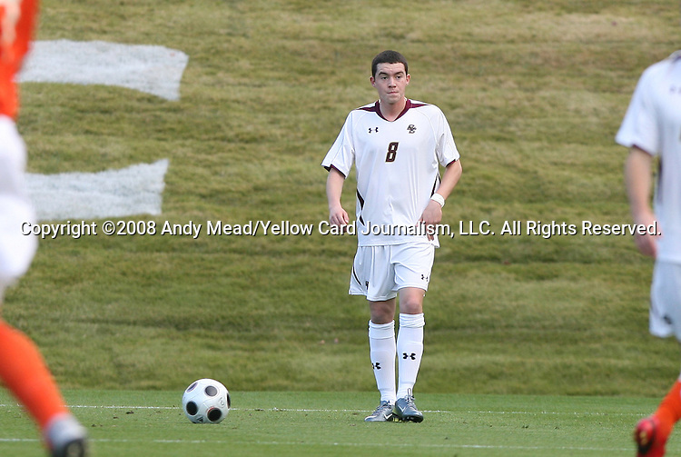 12 November 2008: Boston College's Conor Fitzpatrick. Boston College defeated Clemson University 1-0 in the second sudden-victory overtime period at Koka Booth Stadium at WakeMed Soccer Park in Cary, NC in a men's ACC tournament quarterfinal game.