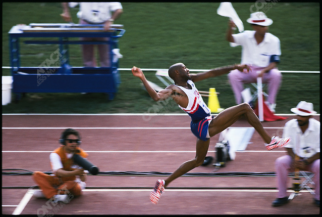 Long jump finals, men, Michael Powell (USA) silver, Summer Olympics, Barcelona, Spain August, 1992